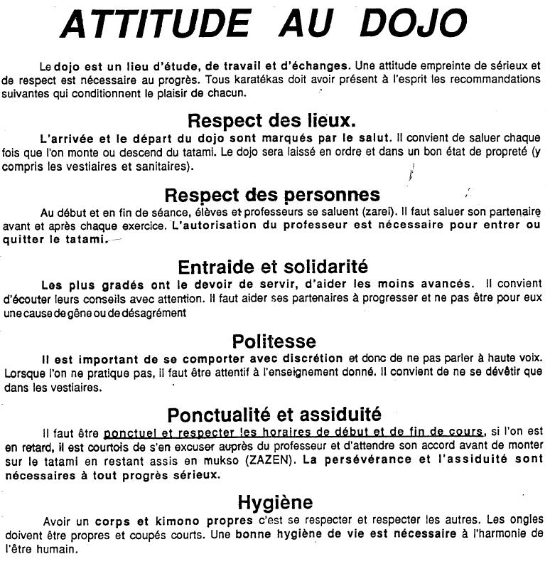 Attitude au DOJO